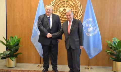 Το Κυπριακό και το ζήτημα της ονομασίας συζητήθηκαν στη συνάντηση Κοτζιά-Γκουτέρες