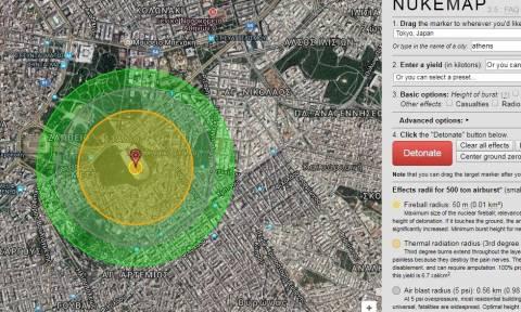 Πάτα το κουμπί: Τι θα συμβεί αν πέσει πυρηνική βόμβα στην Αθήνα; (Διαδραστικός χάρτης)