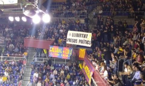 Μπαρτσελόνα - Ολυμπιακός: Η πρωτοφανής διαμαρτυρία των Καταλανών στο Παλάου Μπλαουγράνα (vids)