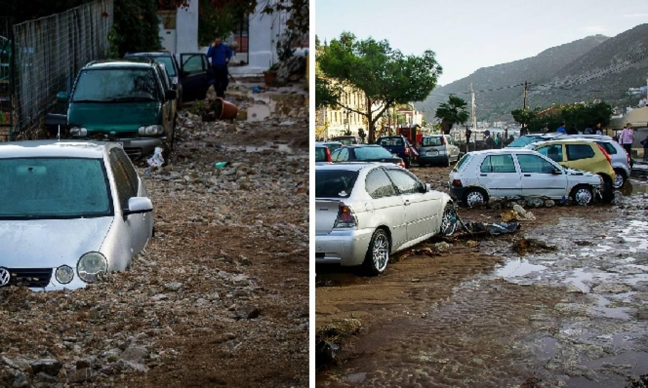 Κακοκαιρία: «Βομβαρδισμένο» τοπίο η Σύμη μετά την επέλαση της Ευρυδίκης