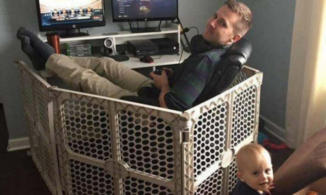 Είκοσι φωτογραφίες απίθανων μπαμπάδων με τα παιδιά τους