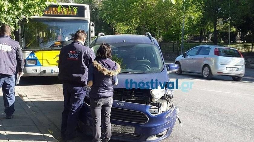 Τροχαίο με λεωφορείο στη Θεσσαλονίκη – Ένας τραυματίας (pic)