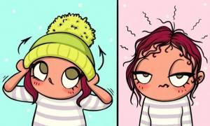 Δεκαπέντε χιουμοριστικά σκίτσα που δείχνουν τους λόγους που οι γυναίκες αντιπαθούν το χειμώνα