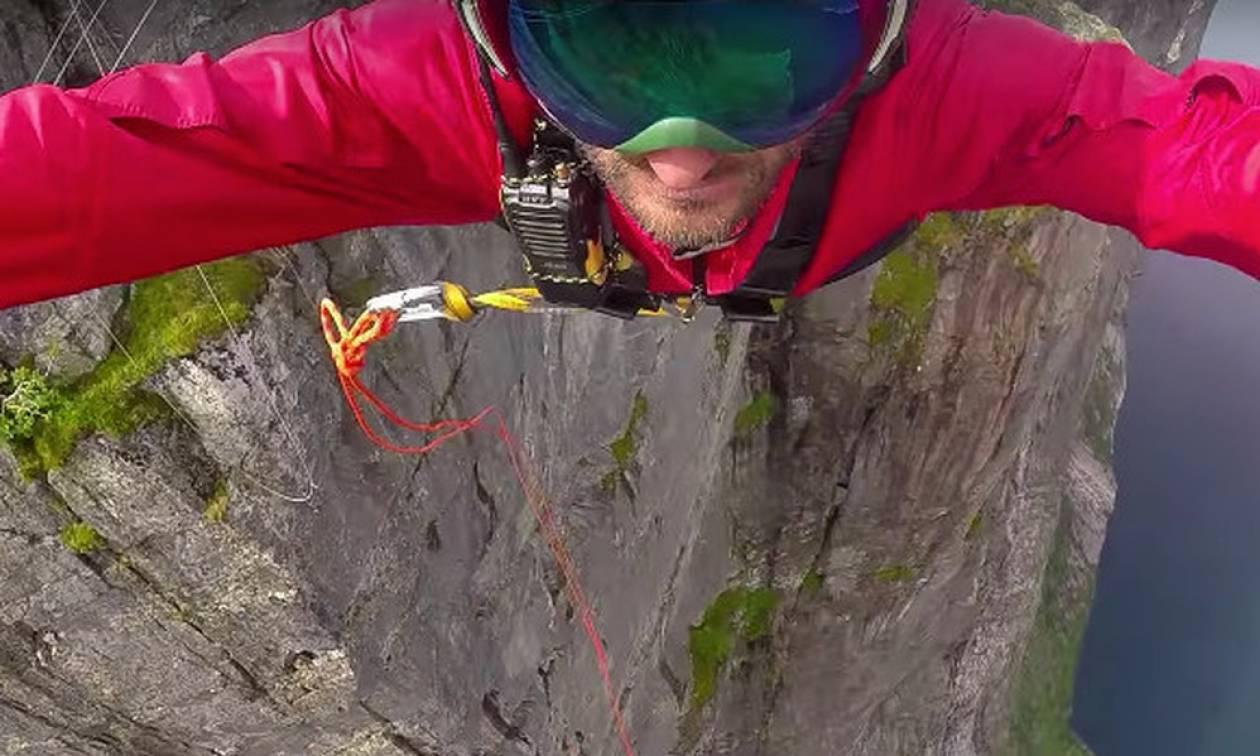 Έπεσε από 392 μέτρα ύψος δεμένος ΜΟΝΟ με ένα σχοινί! (vid)
