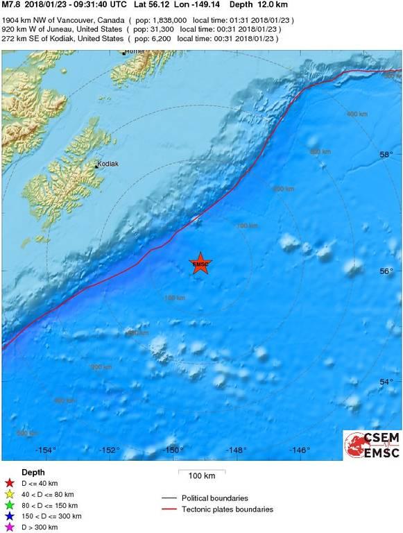 Ισχυρός σεισμός 7,8 Ρίχτερ ΤΩΡΑ στην Αλάσκα