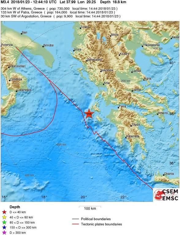 Σεισμός κοντά στην Κεφαλονιά