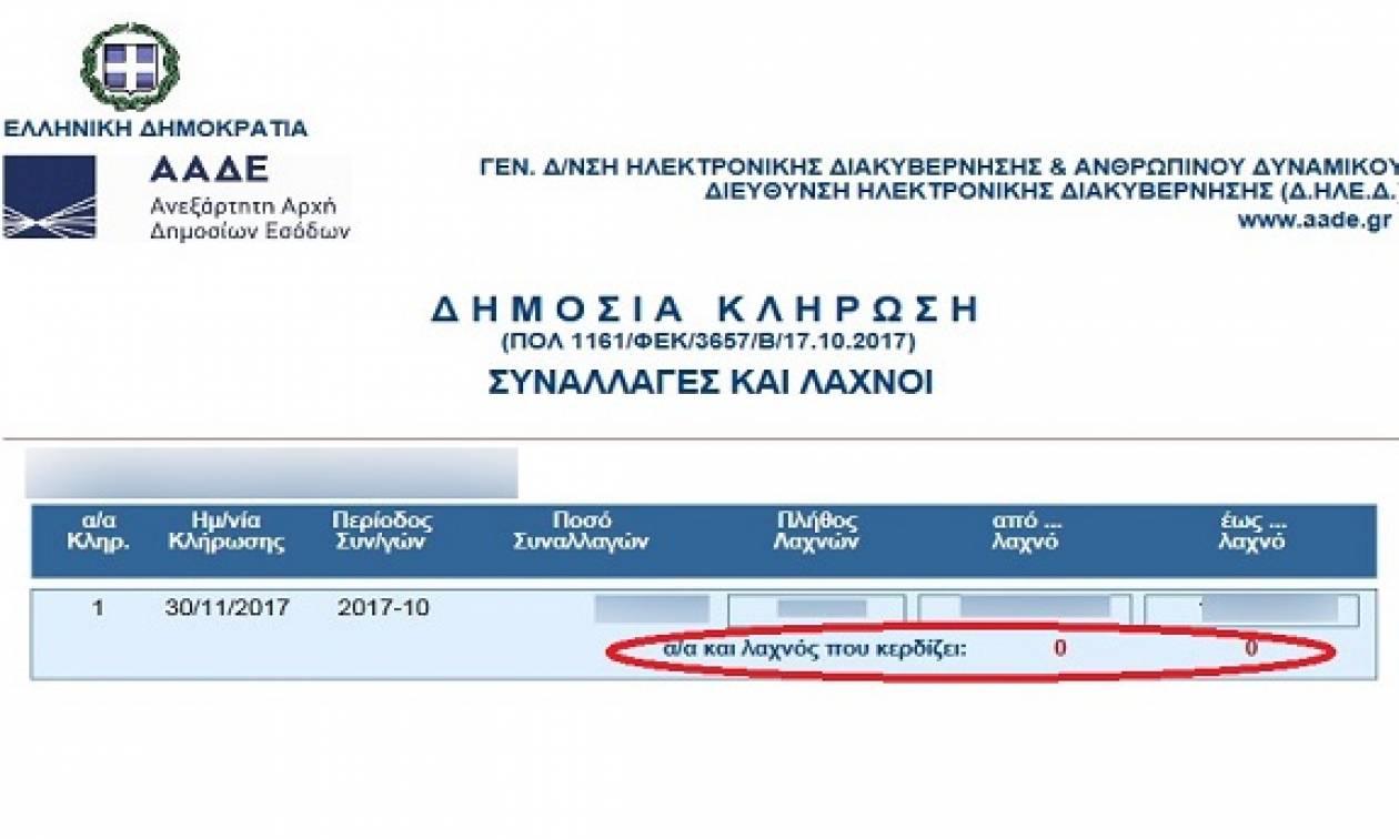 ΑΑΔΕ - Λοταρία αποδείξεων: Δείτε με ένα κλικ αν κερδίσατε 1.000 ευρώ