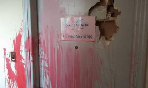 Επίθεση με μπογιές στο γραφείο του πολιτευτή των ΑΝΕΛ Γιάννη Λαϊνιώτη