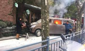 Χάος στη Σαγκάη: Φλεγόμενο φορτηγάκι χτύπησε πεζούς - 18 τραυματίες (pic+vid)