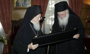 Ο Βαρθολομαίος συγχαίρει τον Ιερώνυμο για τη συμπλήρωση δέκα ετών από την εκλογή του