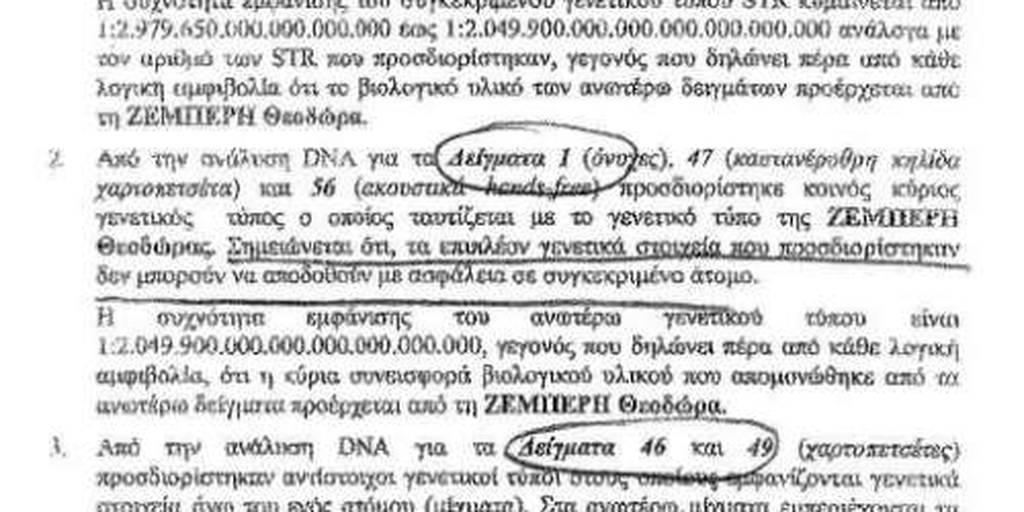 Δώρα Ζέμπερη: Το DNA «διχάζει» αστυνομικούς και πραγματογνώμονες-Τι αναφέρει η έκθεση της Αστυνομίας