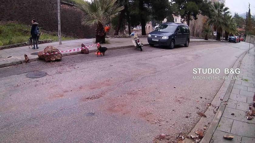 Κακοκαιρία: Κατολίσθηση στο Ναύπλιο λόγω ισχυρής βροχόπτωσης (pics&vid)
