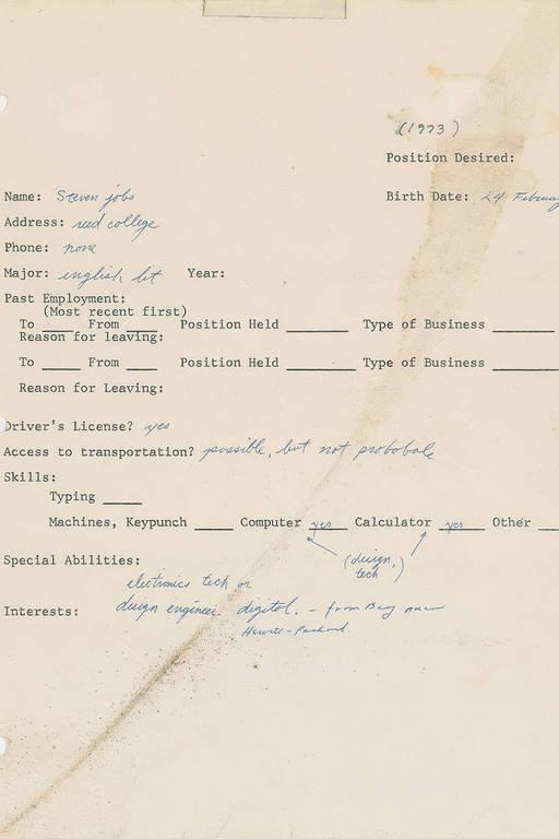 Αυτή είναι η πρώτη αίτηση εργασίας του Στιβ Τζομπς που αναμένεται να δημοπρατηθεί για ποσό-ρεκόρ