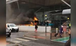Βρετανία: Φωτιά σε λεωφορείο προκάλεσε πανικό στο αεροδρόμιο του Στάνστεντ (vids)