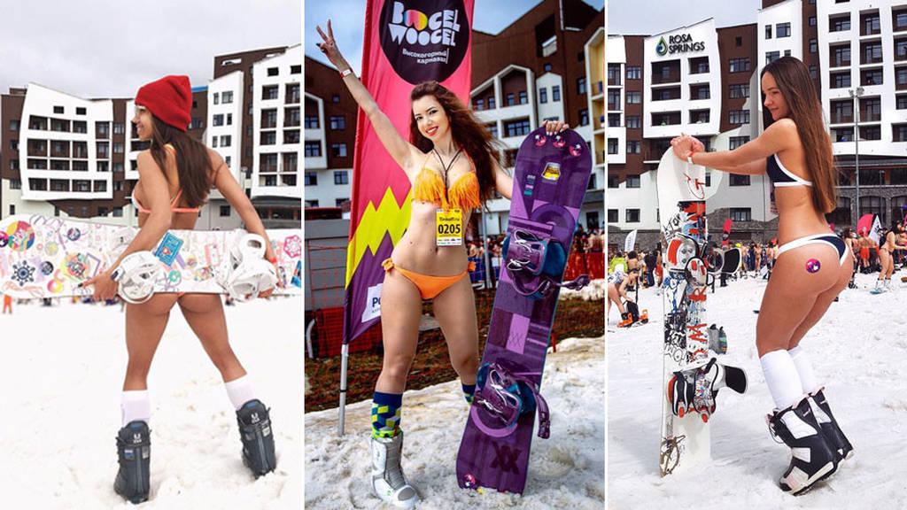 Ρωσίδες γδύθηκαν και επιχείρησαν να σπάσουν το Ρεκόρ Γκίνες κάνοντας σκι! (videos+pics)
