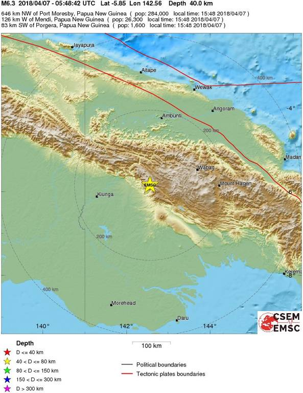 Ισχυρός σεισμός 6,3 Ρίχτερ ΤΩΡΑ στην Παπούα Νέα Γουινέα