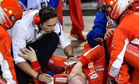 Σοκαριστικό ατύχημα στη Formula 1: Η Ferrari του Ραϊκόνεν έσπασε στα δύο πόδι μηχανικού (video)