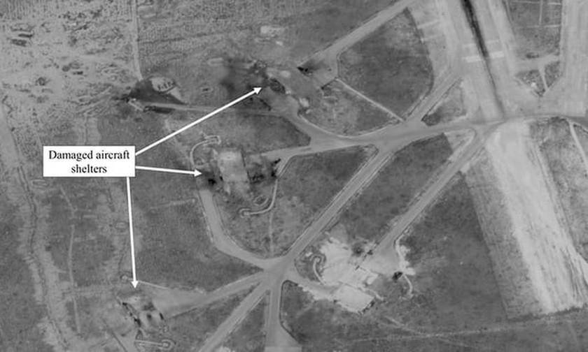 Πόλεμος Συρία: Μια εικόνα των ΗΠΑ που δείχνει τις ζημιές που προκλήθηκαν από τις αμερικανικές βλημάτων στο αεροδρόμιο Shayrat στη Συρία το 2017. Φωτογραφία: OSD / EPA