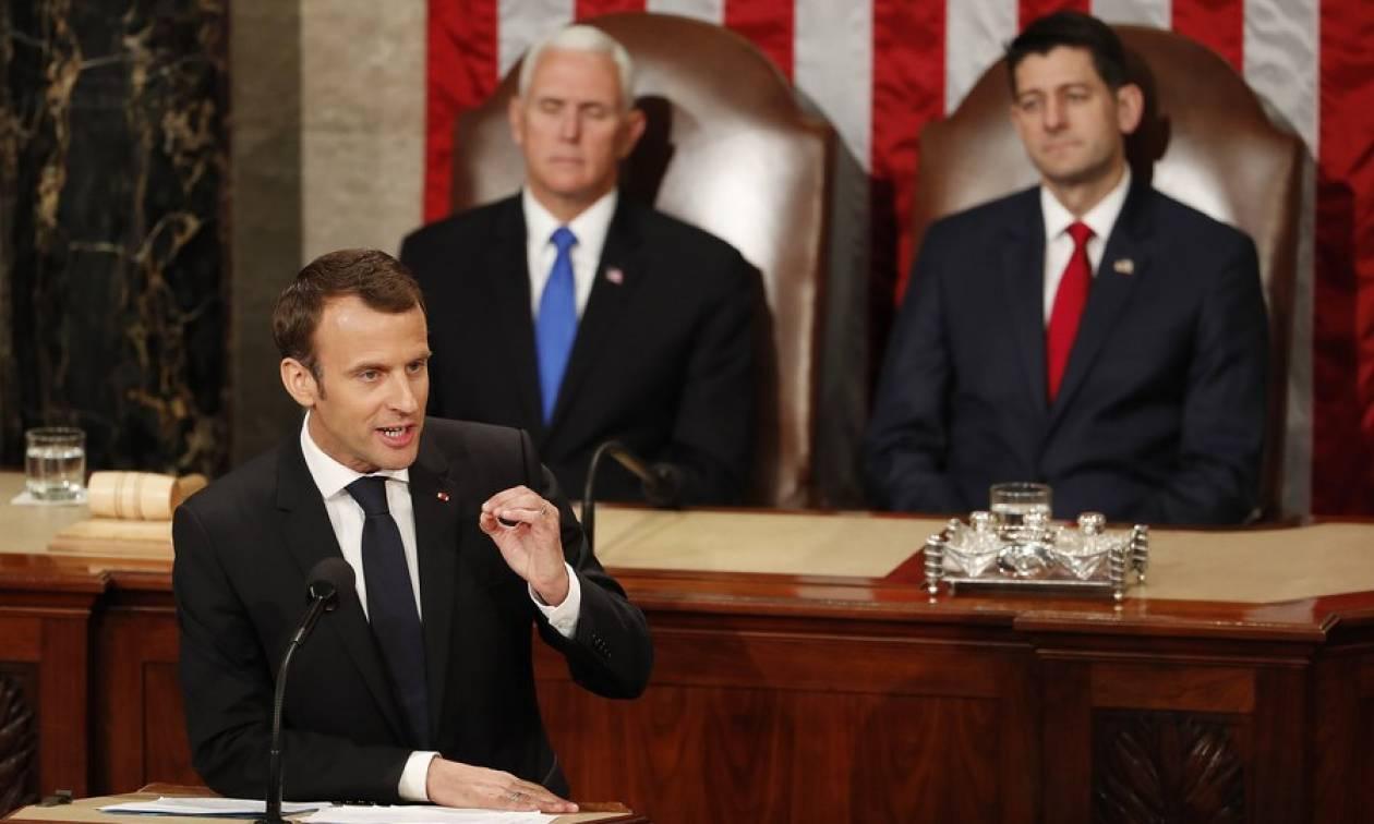 Ενώπιον του Κογκρέσου η απάντηση του Μακρόν στο «Πρώτα η Αμερική» του Τραμπ (Pics+Vid)