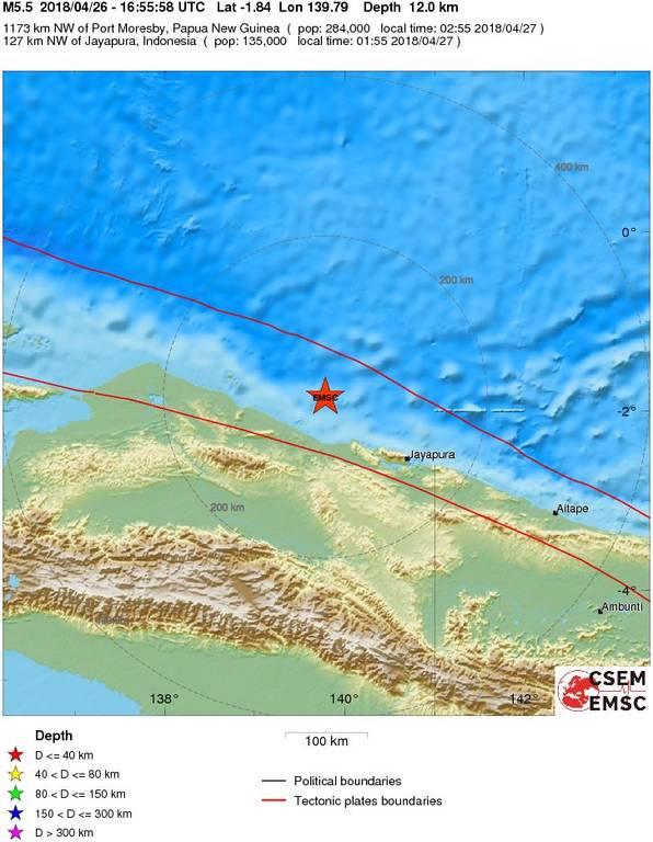 Ισχυρός σεισμός 5,5 Ρίχτερ στην Παπούα Νέα Γουινέα
