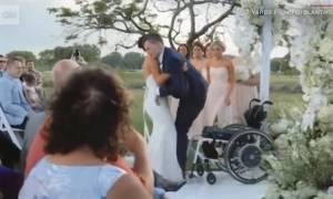 Συγκλονιστικό βίντεο: Του έδιναν 3% πιθανότητες να ξαναπερπατήσει - Τα κατάφερε στο γάμο του!