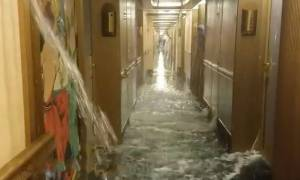 Βίντεο ΣΟΚ: Κρουαζιερόπλοιο... Τιτανικός γεμίζει νερά εν πλω!