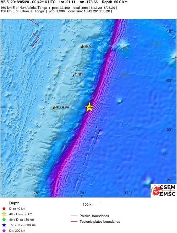 Ισχυρός σεισμός χτύπησε τα νησιά Τόνγκα