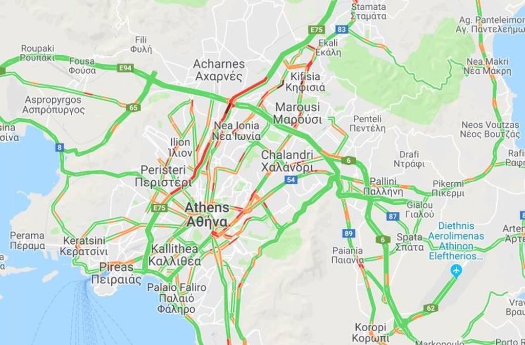 ΤΩΡΑ: Κυκλοφοριακό χάος στην Αθήνα - Μποτιλιάρισμα στις κεντρικές λεωφόρους