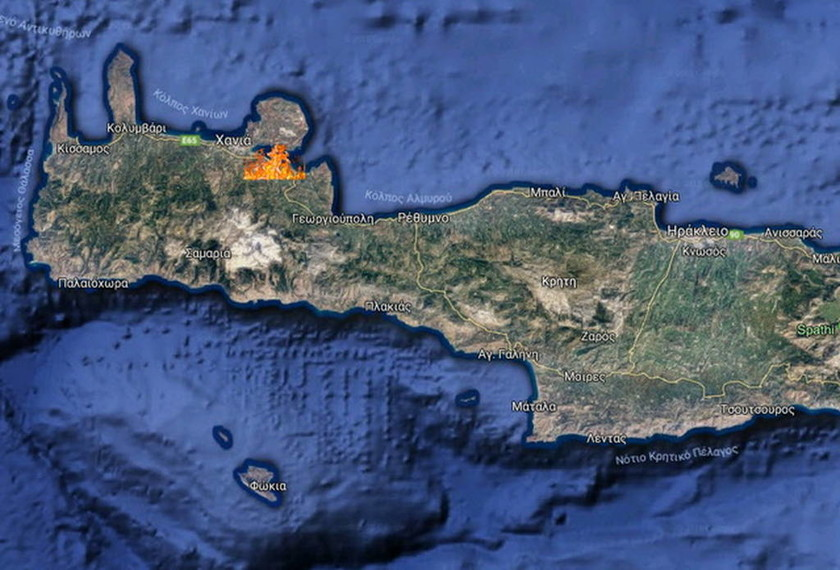 Χανιά: Υπό έλεγχο η φωτιά στα Μεγάλα Χωράφια Χανίων