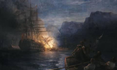 Σαν σήμερα το 1822 η πυρπόληση της τουρκικής ναυαρχίδας του Καρά Αλή από τον Κανάρη