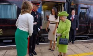 Άρχισαν τα δύσκολα για τη Μέγκαν: Μόνη στο βασιλικό τρένο με την Ελισάβετ! (pic)