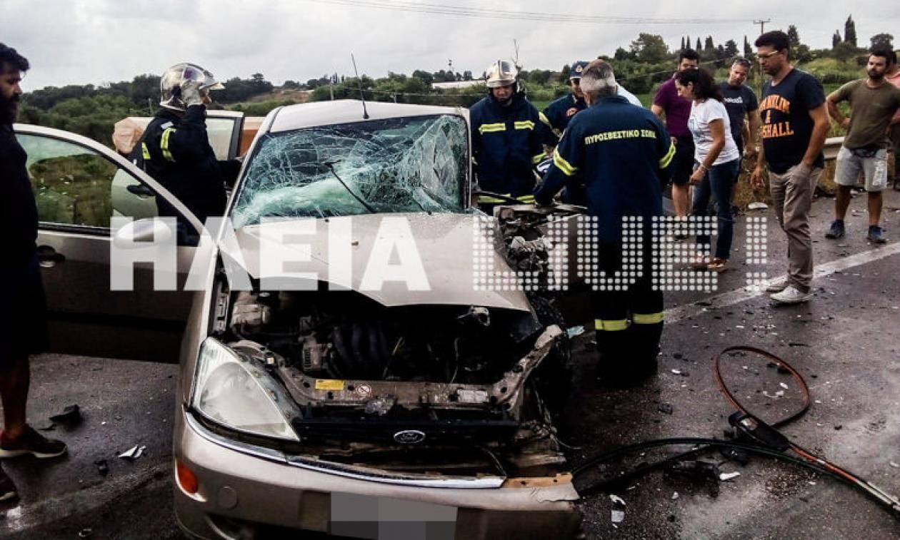 Καραμπόλα με τρεις τραυματίες στην Εθνική Οδό Πατρών – Πύργου: Εικόνες σοκ (pics)