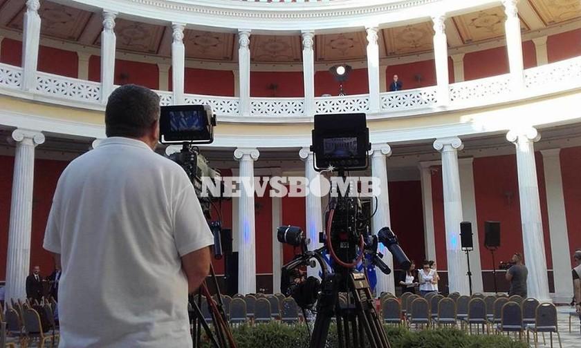 Οι πρώτες φωτογραφίες από τις προετοιμασίες στο Ζάππειο για την ομιλία του Αλέξη Τσίπρα