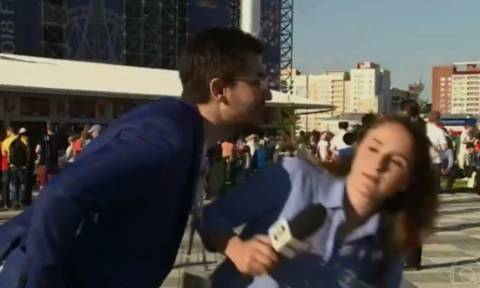 Μουντιάλ: Παρενόχλησε Βραζιλιάνα ρεπόρτερ στον αέρα και δείτε πώς του... ξηγήθηκε! (video)
