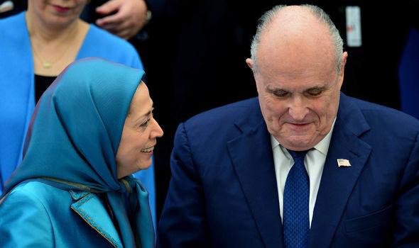 Free Iran rally Maryam Rajavi and Rudy Giuliani 1403757