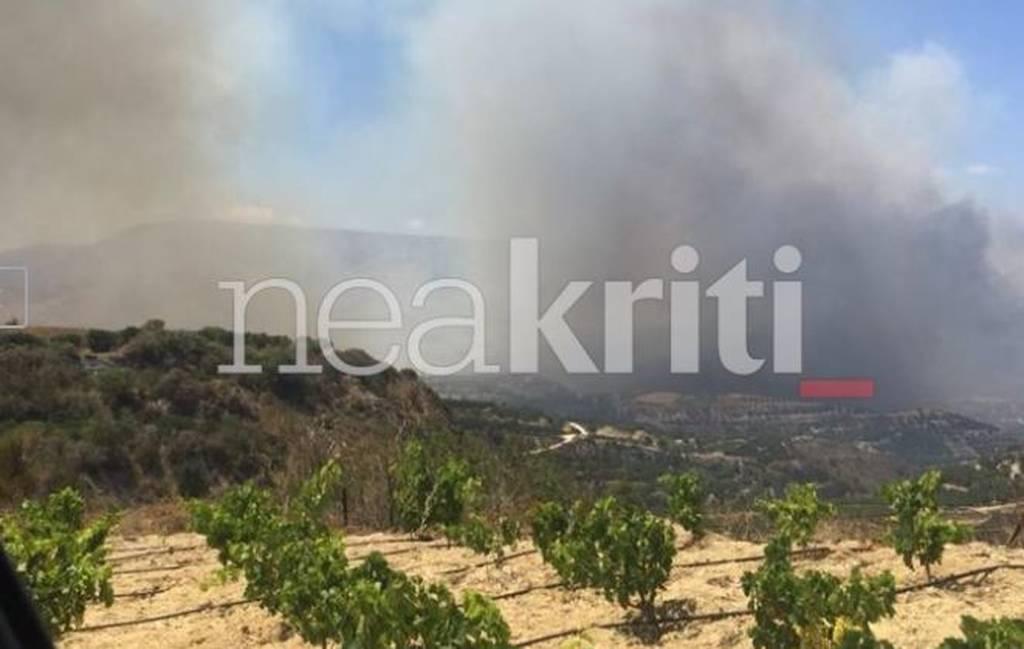 Σητεία: Σε ύφεση, αλλά με συνεχείς αναζωπυρώσεις η φωτιά στην περιοχή Αχλάδια (pics)
