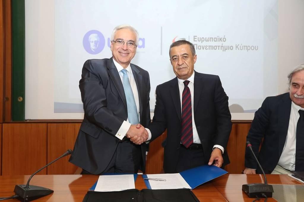Ο Διευθύνων Σύμβουλος του ΥΓΕΙΑ, Ανδρέας Καρταπάνης και ο Διευθύνων Σύμβουλος & Πρόεδρος του Συμβουλίου του Ευρωπαϊκού Πανεπιστημίου Κύπρου, Δρ Χριστόφορος Χατζηκυπριανού