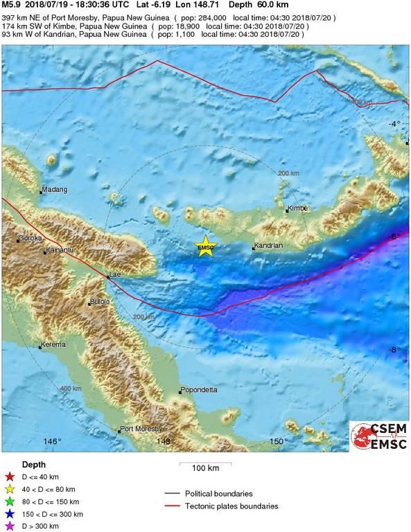 Ισχυρός σεισμός 6 Ρίχτερ ΤΩΡΑ στην Παπούα Νέα Γουινέα