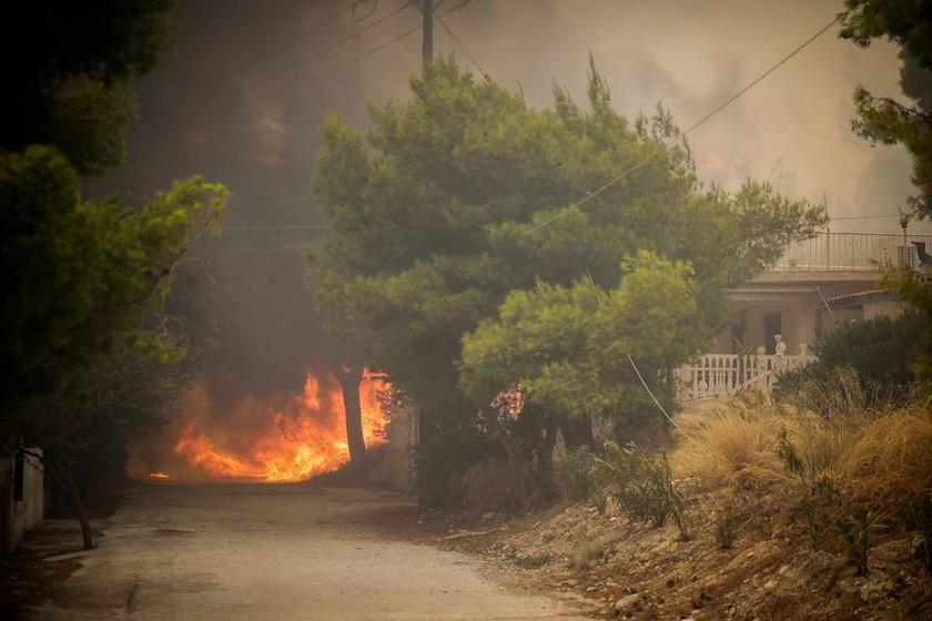Πυρκαγιά στην Κινέτα: Διακοπές ρεύματος λόγω της φωτιάς
