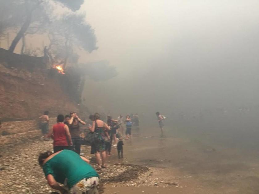 Φωτιά: Στην ακτή για να σωθούν - Συγκλονιστικές φωτογραφίες από τον πύρινο εφιάλτη της Αττικής