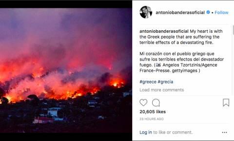Антонио Бандерас выразил соболезнования Греции в связи с гибелью людей в результате пожаров