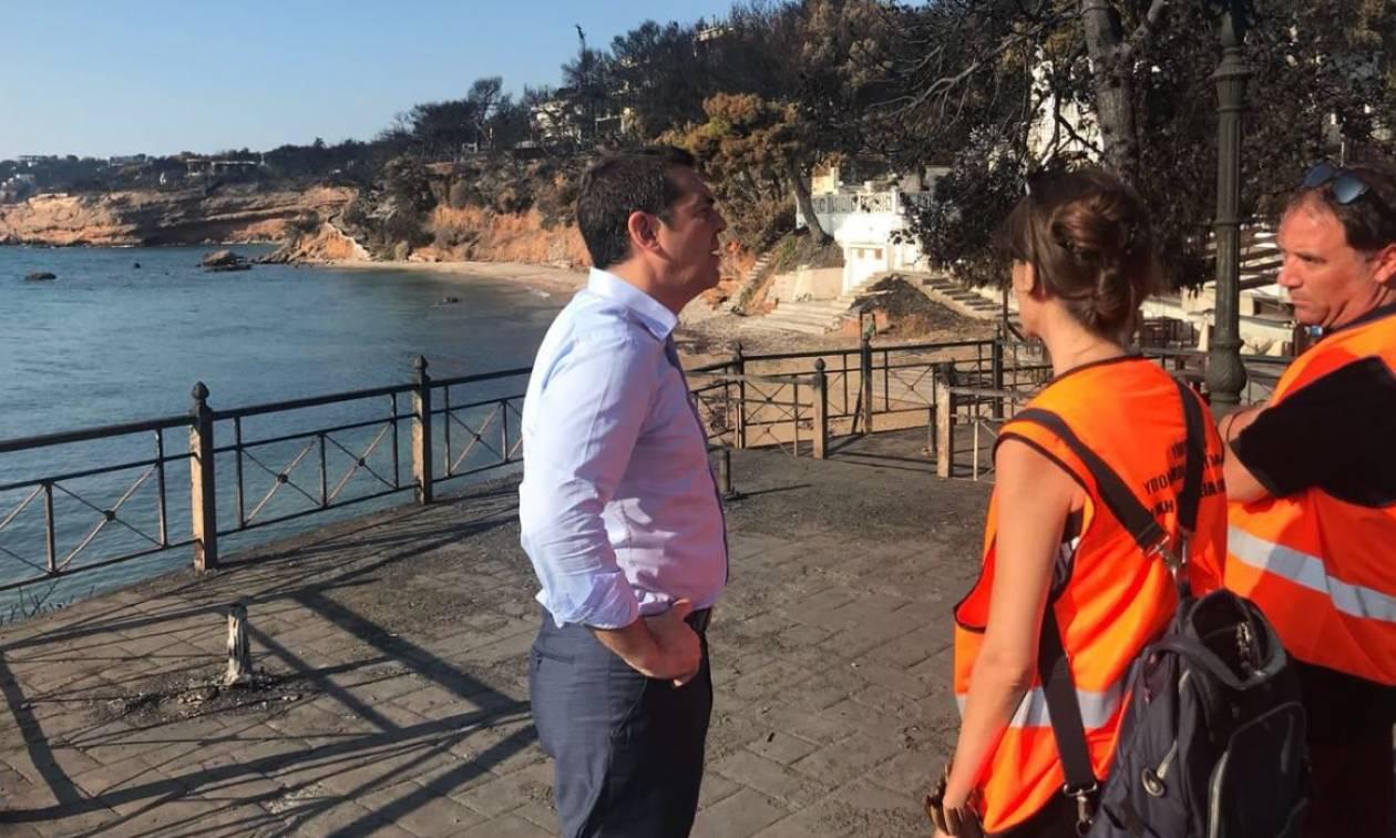 Στο Μάτι ο Αλέξης Τσίπρας - Επισκέφθηκε τις πληγείσες περιοχές