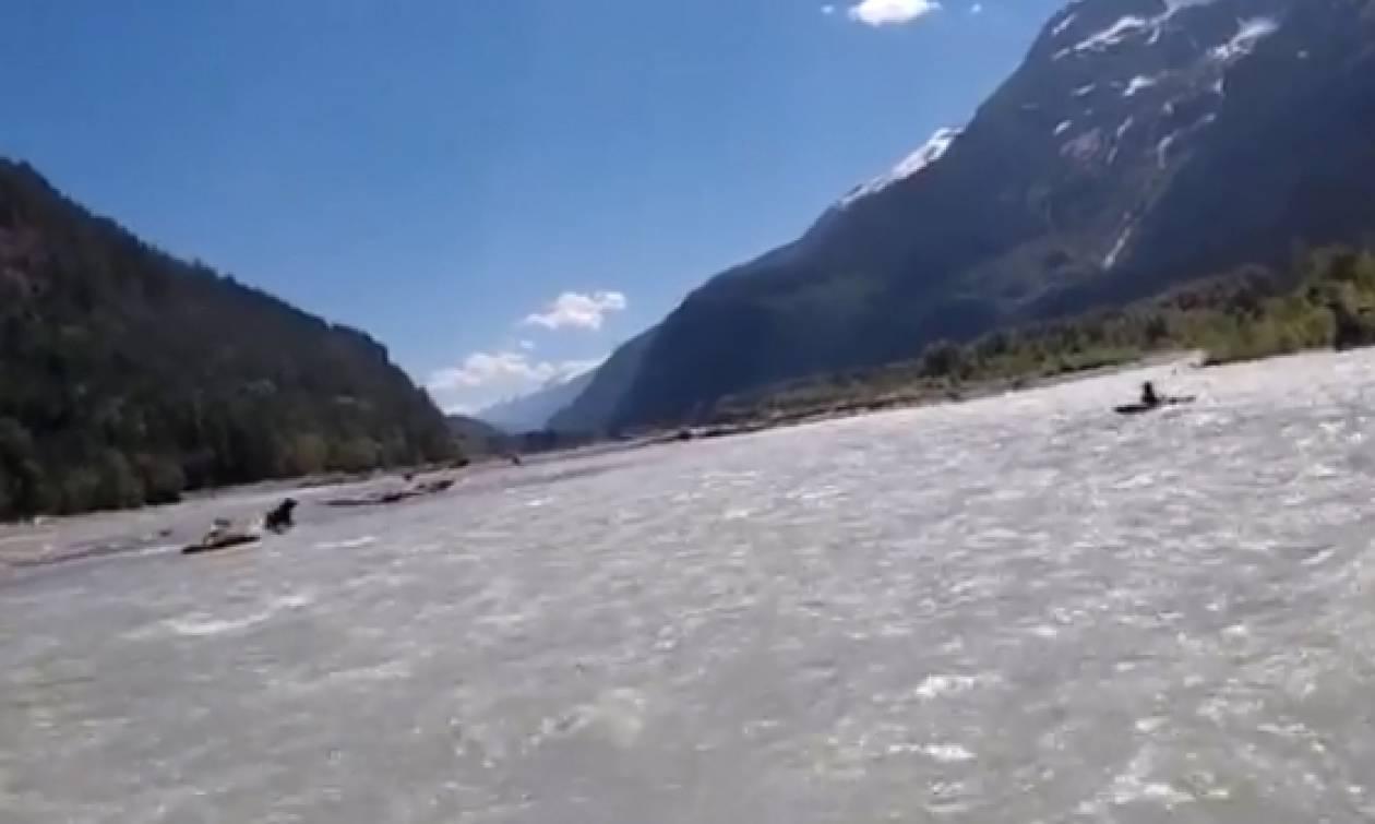 Τρόμος: Αρκούδα επιτίθεται σε άνδρα που έκανε rafting (vid)
