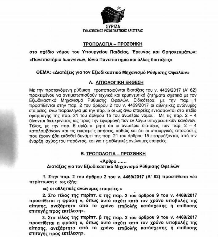 Επιβεβαίωση Newsbomb.gr: Ιδού η ρύθμιση για τα χρέη των ΠΑΕ!