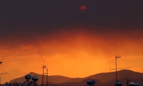 Φωτιά Εύβοια: Οι πυκνοί καπνοί από την πυρκαγιά έκρυψαν τον ήλιο στην Αττική (pics)