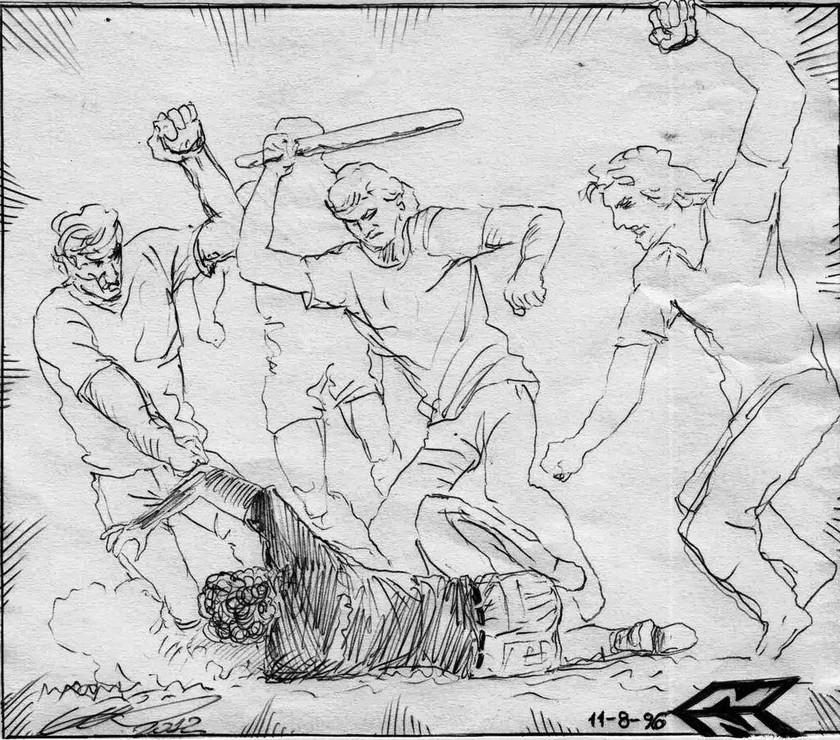 Η δολοφονία του Τάσου Ισαάκ, εξαδέλφου του Σολομού Σολωμού (φανταστική απεικόνιση). Δημιουργός: Χρήστης αΝώΔυΝος (Νίκος Δημ. Νικολαΐδης)