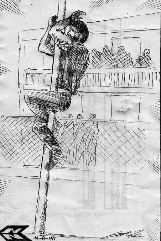 Η στιγμή της δολοφονίας του Σολωμού (φανταστική απεικόνιση). Δημιουργός: Χρήστης αΝώΔυΝος (Νίκος Δημ. Νικολαΐδης)