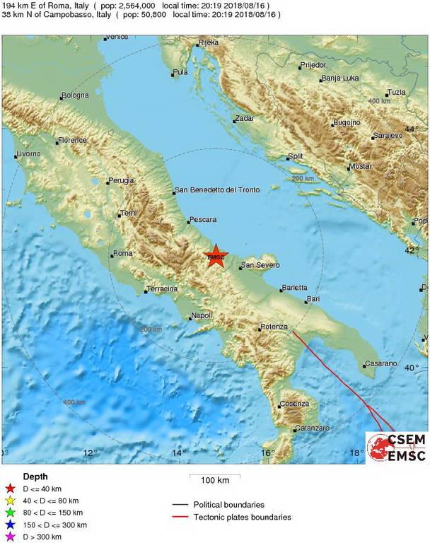 Σεισμός Ιταλία: 5,1 Ρίχτερ το μέγεθος του σεισμού περιφέρεια Μολίζε - Έχουν σημειωθεί ζημιές