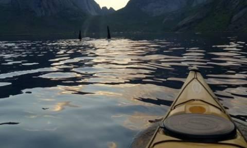 Φάλαινες- δολοφόνοι κολυμπούν δίπλα σε καγιάκερς (vid)