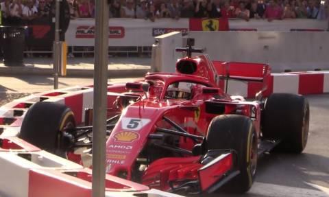 Μιλάνο: Γκάφα πρωταθλητή! Ο Φέτελ τράκαρε τη Ferrari σε αγώνα επίδειξης (video)